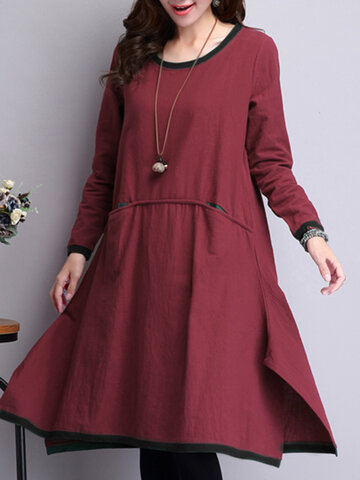O-Newe Vintage Patchwork Long Sleeve Irregular Maxi Dress For Women