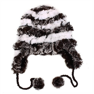 Buy Female Ear Protection Cap Real Knitted Rex Rabbit Fur Thermal Charm Beanies Hats