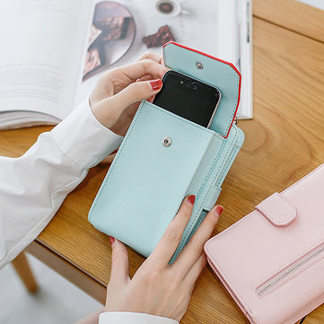 Stylish PU Leather Phone Bag Wallet Card Holder Purse For Women