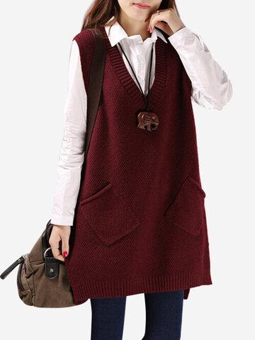 Suéteres de chaleco de bolsillo de color puro con cuello en V para mujer