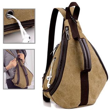 Women Casual Canvas Backpack Satchel Rucksack  Zipper Crossbody Bag Retro Shoulder Bag