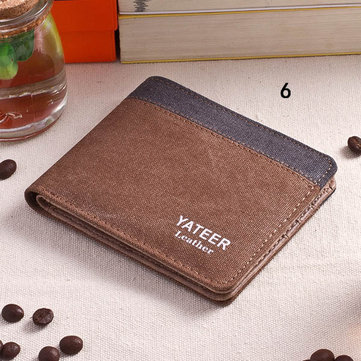 Men Retro Canvas Vertical Horizontal Card Holder Wallet