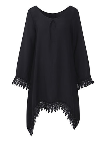 Sexy Women Long Sleeve Tassel Chiffon Dresses