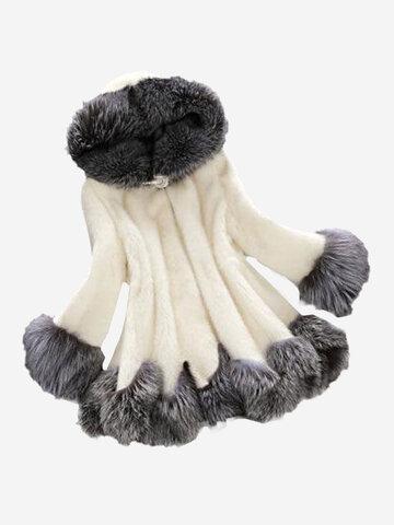 Fashion Hooded Faux Fur Coats For Women
