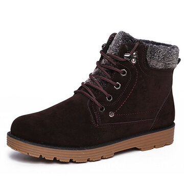 Suede Button Metal Ankle Lace Up Keep Warm Boots