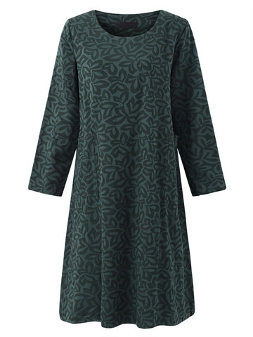 Casual Loose Floral O-Neck Long Sleeve Women Dresses
