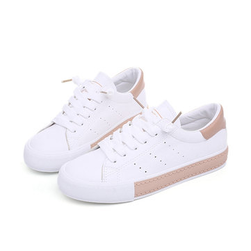 M.GENERAL Lace Up Round Toe Soft Canvas Shoes For Women
