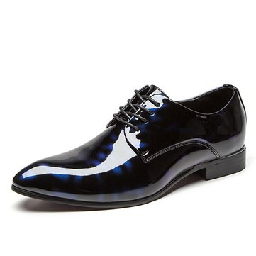 Larger Size Men Patent Leather Pointed Toe Floral Pattern Formal Dress Shoes