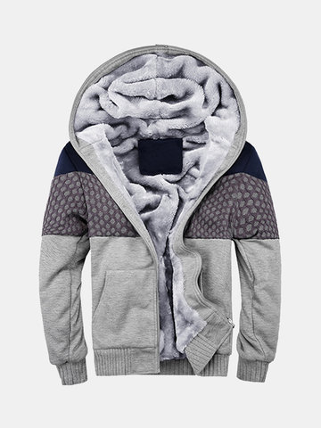 Mens Winter Thick Warm Woolen Lined Stitching Hoodies Casual Zipper Tops Sweatshirt