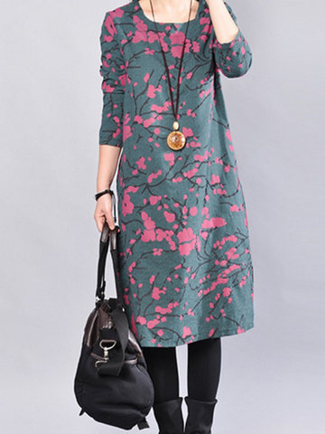 Casual Print Splited Hem Long Sleeve O-neck Women Dresses