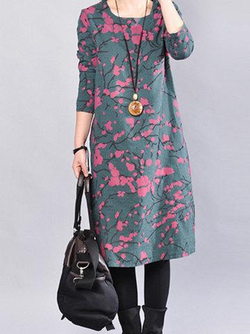 Повседневная Печатаные Платья с длинным рукавом O-образным вырезом