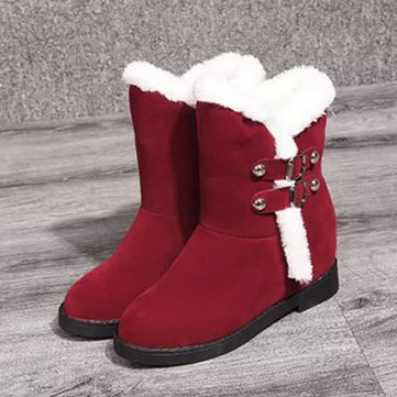 Buckle Warm Fur Lining Buckle Slip On Flat Ankle Snow Boots