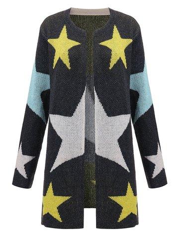 Frauen Langarm V-Ausschnitt Sterne Muster Bedruckte Strickjacke