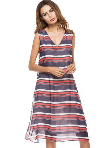 Casual Stripe Sleeveless V-neck Loose Dress For Women