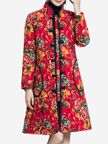 Women Floral Printed Long Sleeve Plate Buckle Thicken Coats
