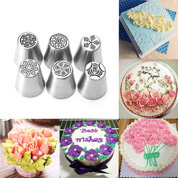 6pcs Flower Pastry Cake Icing Piping Nozzles Decorating Tips Baking Tools DIY Cupcake Decoration