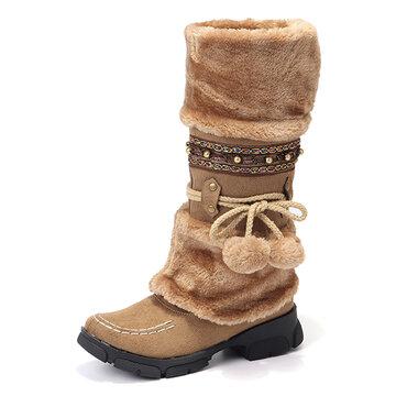 Rhinestone Mid Calf Warm Knight Boots