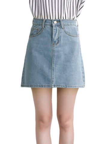 A Line High Waist Package Hip Women Casual  Denim Skirt