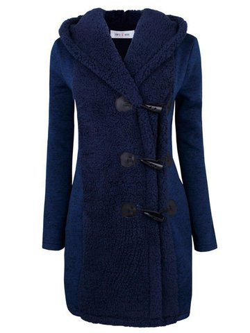 Casual Plush Patchwork Hooded Women Coats