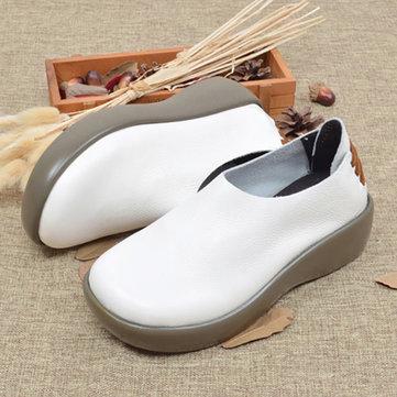 Genuine Leather Slip On Platform Retro Round Toe  Flat Shoes