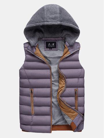 Detachable Hooded Outdoor Thicken Warm Vest
