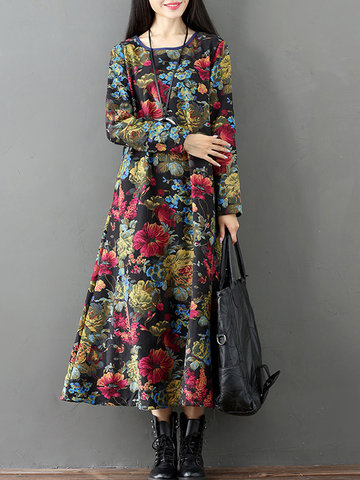 Vintage Floral Print Thicken Long Sleeve O-neck Women Maxi Dresses