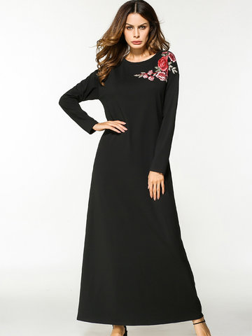 Casual Floral Embroidered Loose Long Sleeve O-neck Maxi Dress