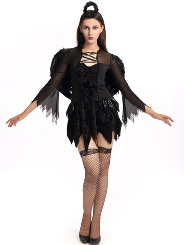 Halloween Fallen Angel Outfit Women Sexy Gothic Role Play Fancy Costume