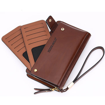 10 Card Slots Wallet Pu Clutch Card Holder Big Capacity Coin Bag Phone Bag For Men