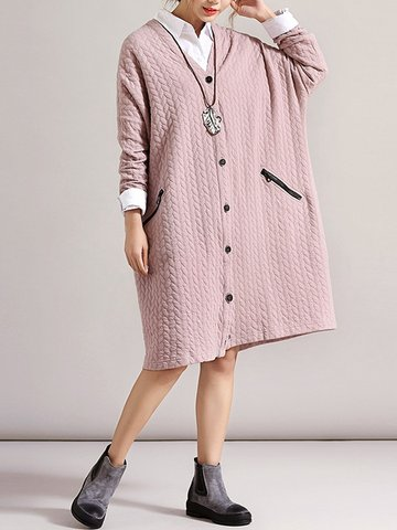 Casual Solid Color Loose Long Sleeve Women Coats