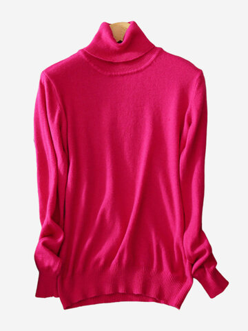 Turtleneck Pure Color Bottoming Sweaters