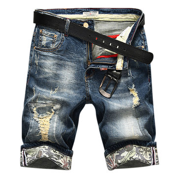 Casual Fashion Summer Thin Stone Washed Denim Holes Jeans Shorts for Men