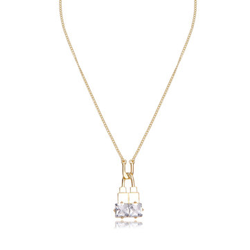 Balancing Style Alloy U-Shaped Lock Rhinestone Necklace