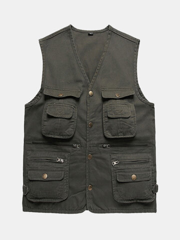 Spring Fall Muti-pocket Fishing Vest Casual Outdoor Cotton Waistcoat For Men