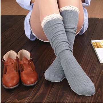 Women Crochet Lace Trim Cotton Knit Leg Warmers Boot Socks Knee High Stockings