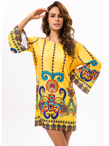 Gracila Folk Style Off-shoulder Print Long Sleeve Women Mini Dress