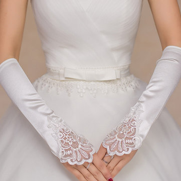 Bridal White Long Lace Gloves Marriage Fingerless Beads Wedding Gloves