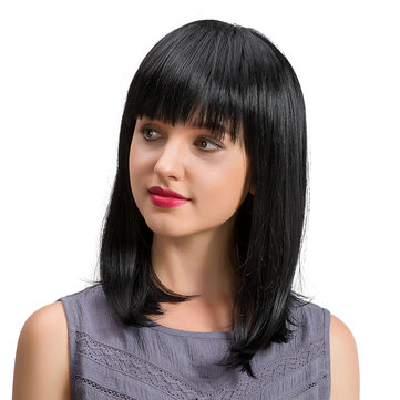 Black Medium Length Straight Human Hair Wig