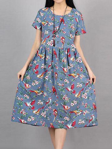 Gracila Birds Print Pleated O Neck Short Sleeve Women Dresses