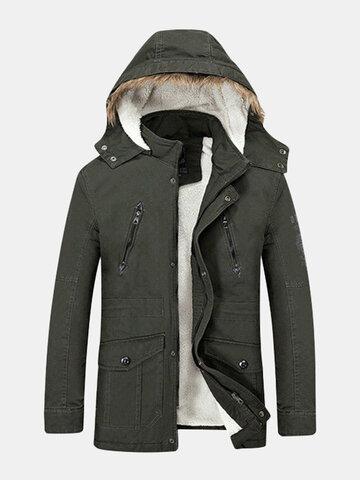 Мужская зимняя модная куртка большого размера с утопленным теплым с капюшоном длинным пальто