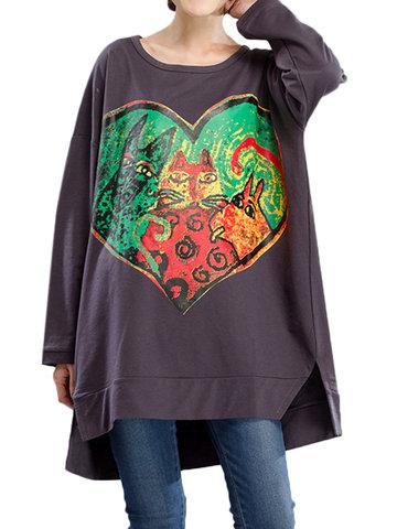 Women Heart Printed Long Sleeve Casual Blouse