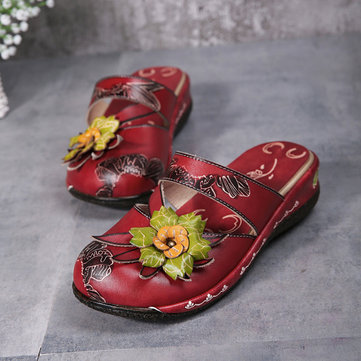 Socofy Flower Hollow Out Backless Strappy Flat Leather Shoes