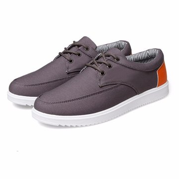 Men Canvas Lace Up Casual Sport Color Match Stripe Shoes