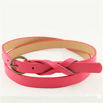 Women Candy Color Leather Thin Skinny Adjustable Waistband Belt