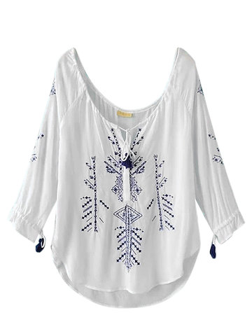 Vintage Embroidery V Neck Lace Up Shirts For Women
