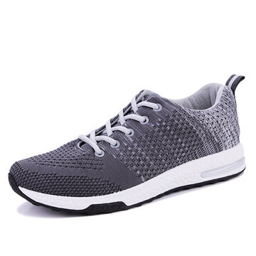 Men Flyknit Fabric Brethable Sport Running Shoes Lace Up Casual Sneakers