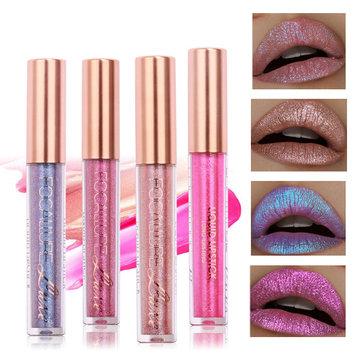FOCALLURE Glitter Color Matte Lip Gloss Diamond Sand Sexy Pearl Liquid Lipstick 6 Colors