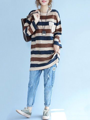 Casual Women Loose Striped Camisetas de manga larga
