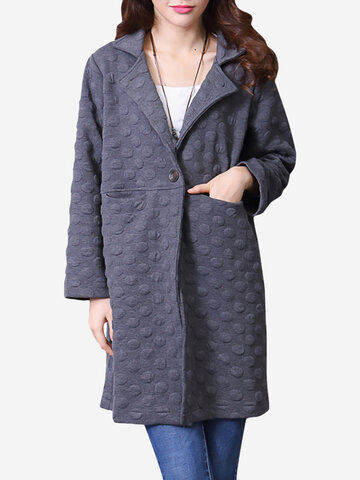 Jacquard Weave Solid One Button Lapel Casual Women Coat