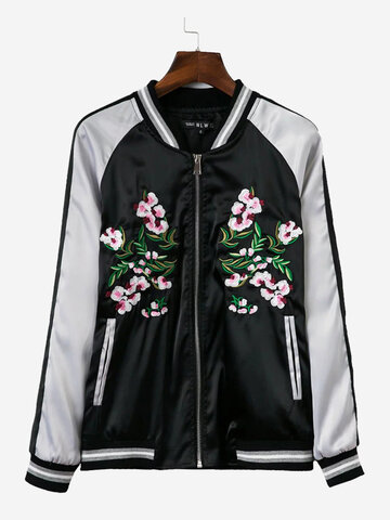 Women Casual Embroidery Mix Color Long Sleeve Baseball Coat